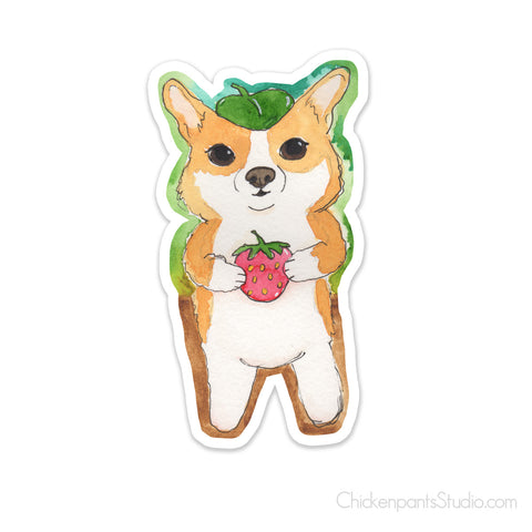 Forest Corgi With a Strawberry Vinyl Sticker