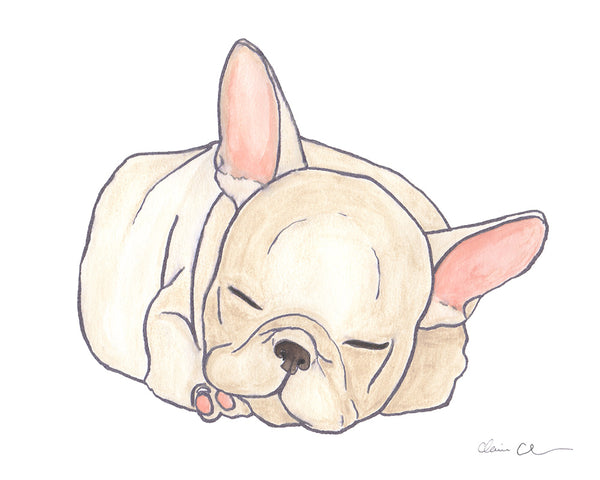Sleeping French Bulldog Art Print in Cream