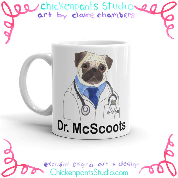 Personalized Doctor Pug Mug (Gentleman Version)