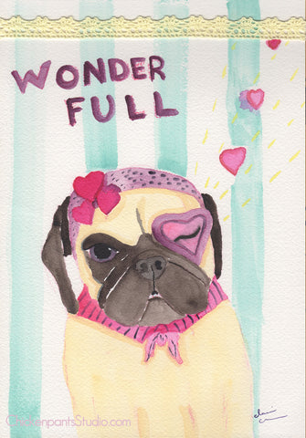 Wonder/Full -  Original Pug Art