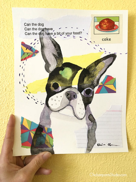 Can The Dog Have A Bit -  Original Boston Terrier Painting