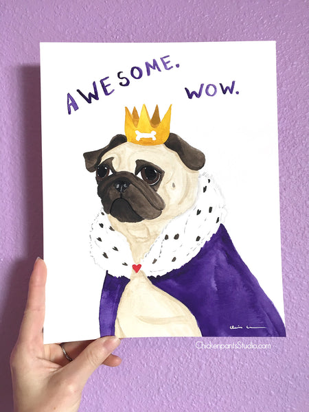 Awesome. Wow. -  Original Pug Watercolor Painting