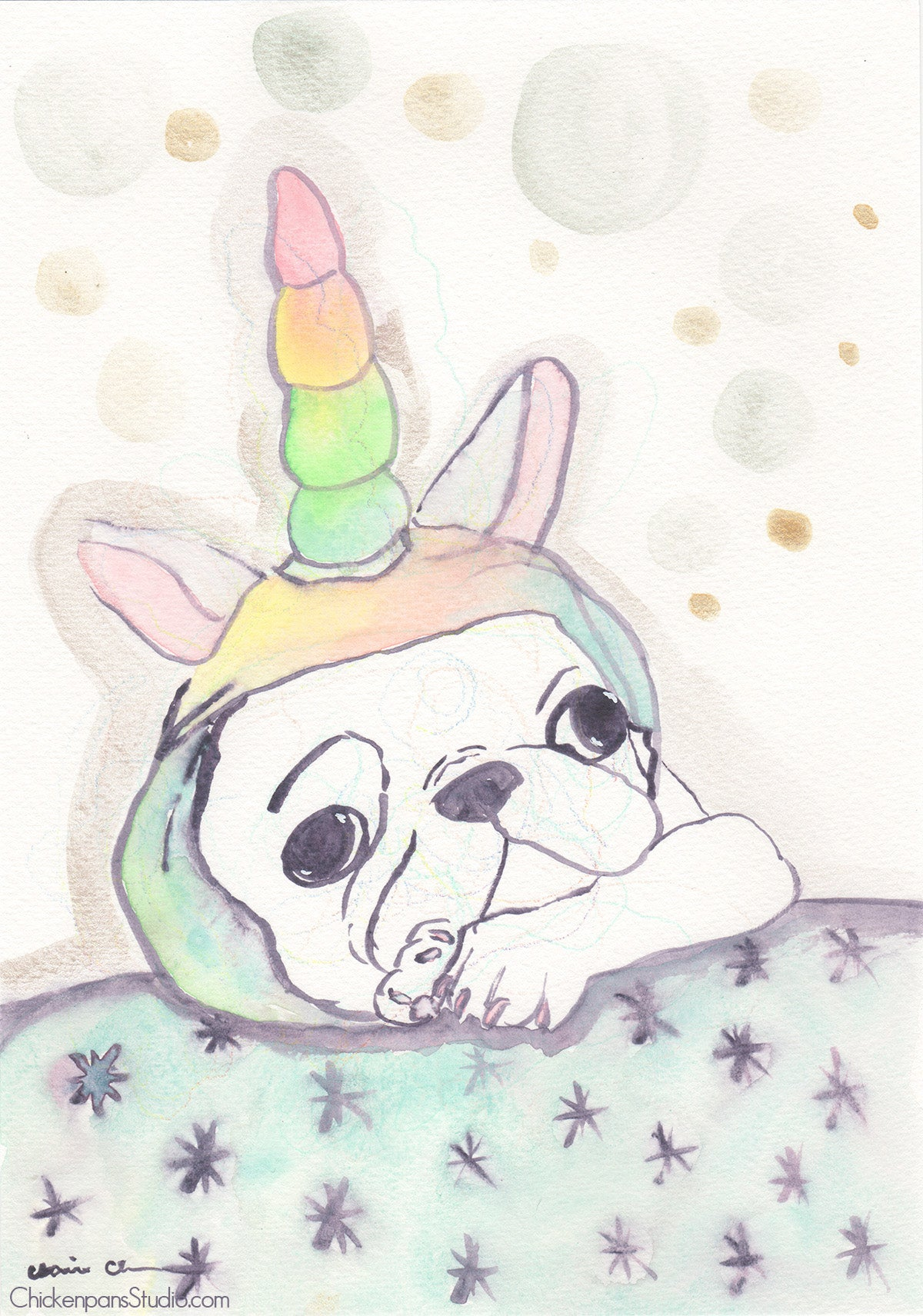 Gertrude The Unicorn -  Original Pug Watercolor Painting