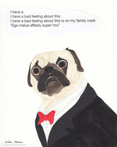 Family Crest -  Original Pug Art