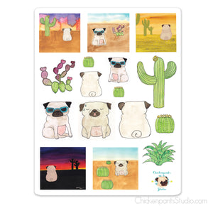 Desert Pugs Sticker Sheet
