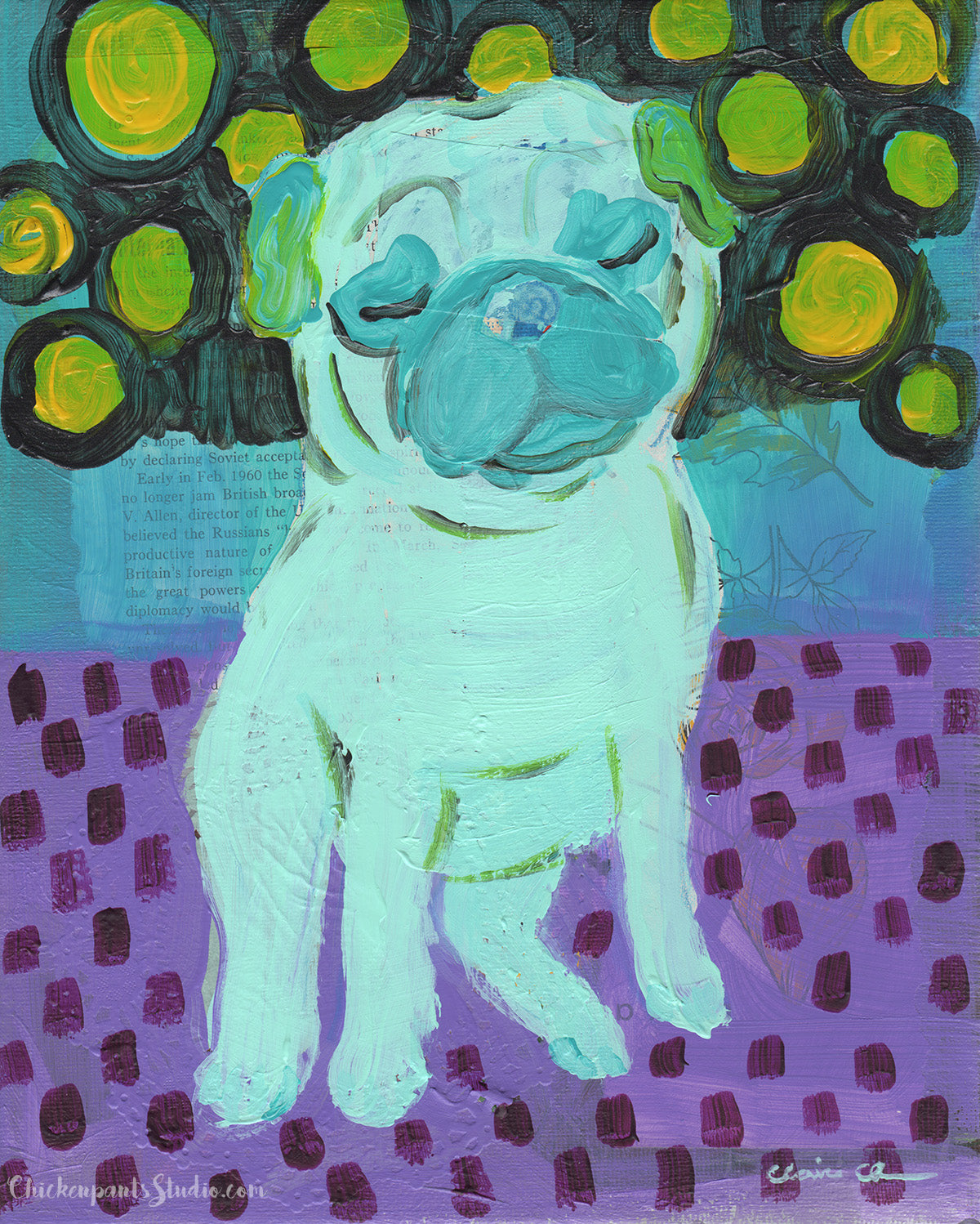Feeling Blue -  Original Pug Painting