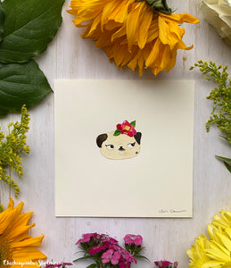 Flower Pug #1 - Camellia -  Original Pug Art