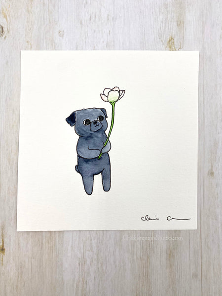 Forest Pug #1 - Original Pug Painting