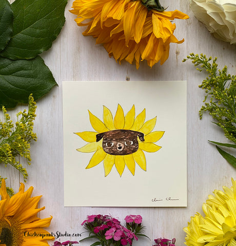 Flower Pug #8 - Sunflower -  Original Pug Art
