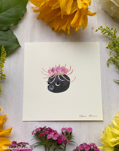 Flower Pug #6 - Lotus -  Original Pug Art