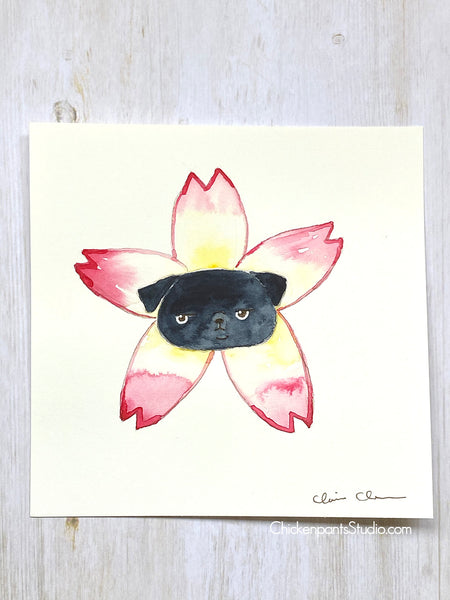 Flower Pug #7 - Plum Blossom -  Original Pug Art