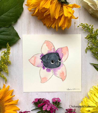 Flower Pug #10 - Cherry Blossom -  Original Pug Art