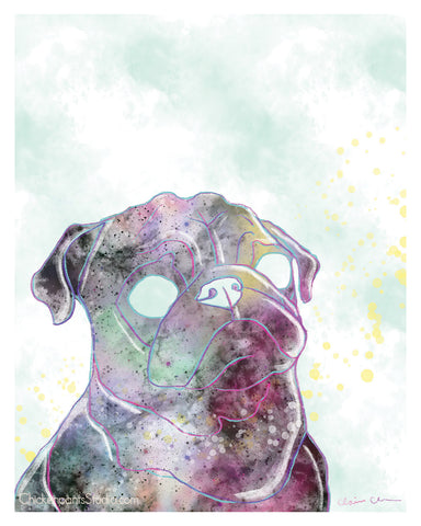 Blue Sky Galaxy - Pug Art Print
