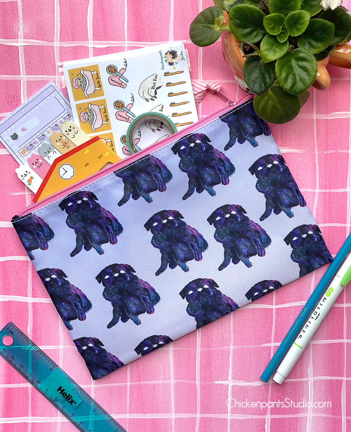 Galaxy Pug Zipper Pouch