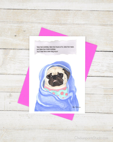Take Two Cookies - Pug Get Well Soon Card