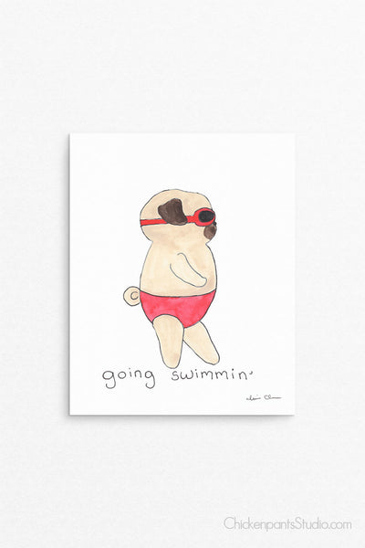 Going Swimming Pug Art Print