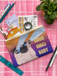 Good Vibes Baby Pug Zipper Pouch
