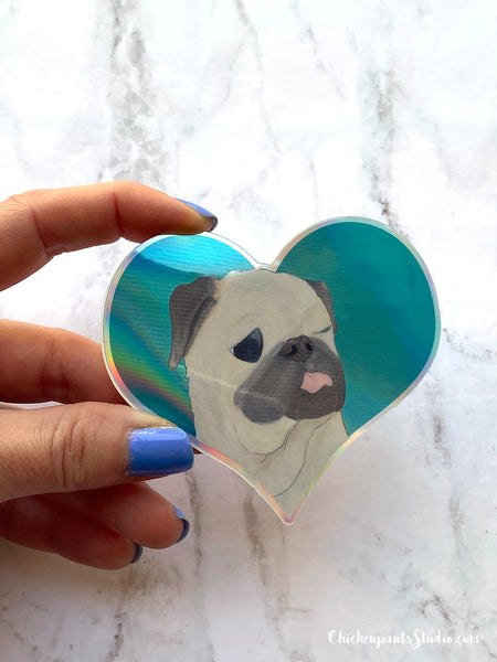 Holographic Heart - Vinyl Pug Sticker