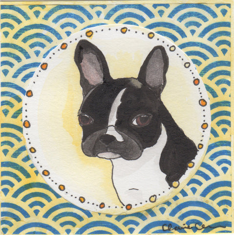 Original Boston Terrier Mini Painting