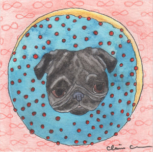 Donut Pug Original Mini Painting