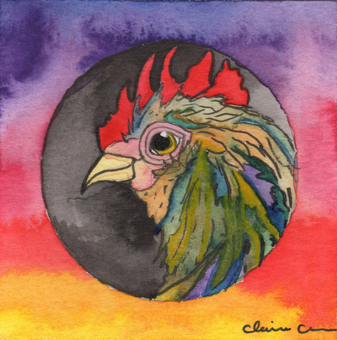 Original Chicken Mini Painting - Deidre, The Oncoming Storm