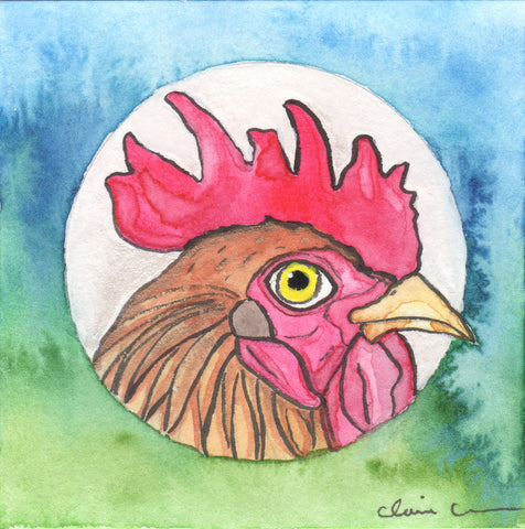 Original Mini Rooster Painting
