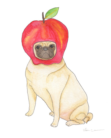 Apple Pug Art Print