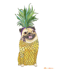 Pineapple Pug Art Print
