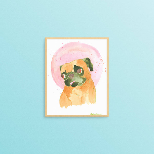 Bubblegum Champion Pug Art Print
