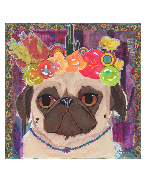 Flower Crown Pug Art Print