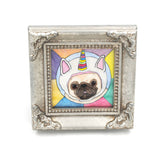 Framed Original Pug Painting - Part Time Unicorn
