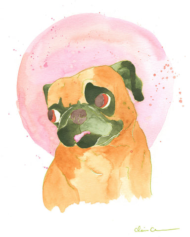 Bubblegum Champion - Original Framed Pug Art