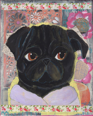 Gloria Before Coffee - Original Pug Painting