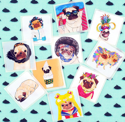 Pug Stickers - Set A - Pack of 10