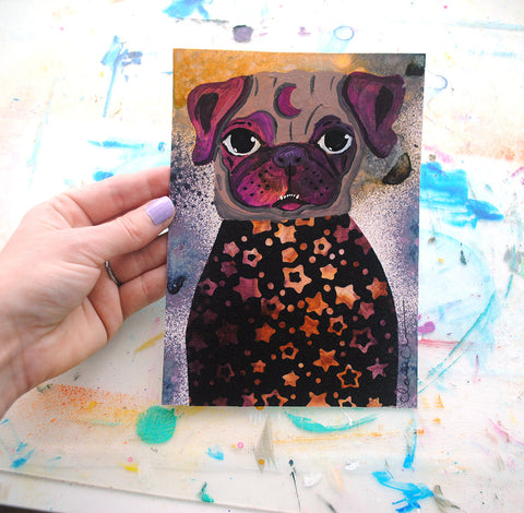 Moon Pug - Original Painting