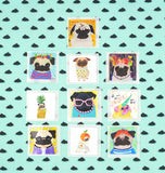 Pug Stickers - Set B - Pack of 10