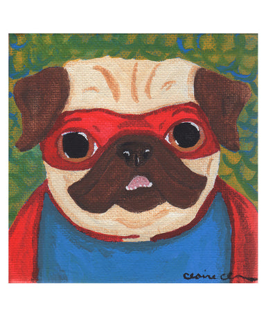 Superhero Pug Art Print