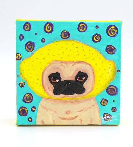 Lemonhead Pug Original Painting
