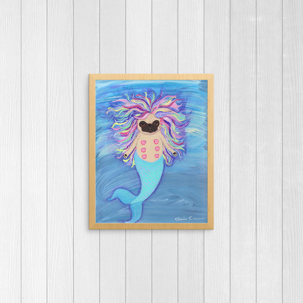 Mermaid Pug Art Print
