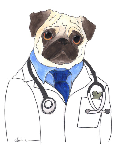 Doctor McScoots Pug Art Print (Gentleman Version)