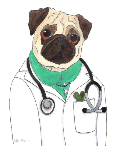 Doctor McScoots Pug Art Print (Lady Version)