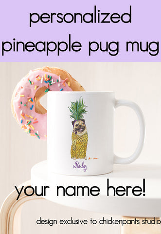 Personalized Pineapple Pug Mug