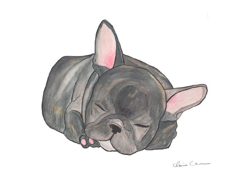 Sleeping French Bulldog Art Print