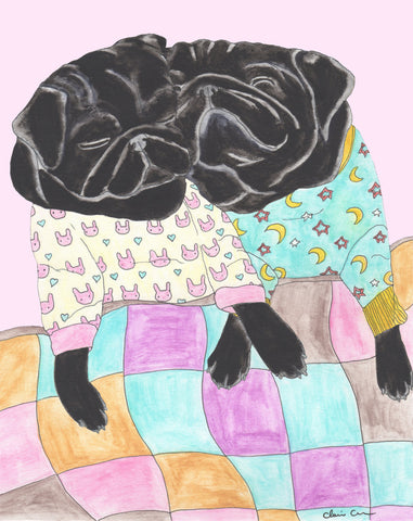 Cuddle Pugs - Black Pug Art Print