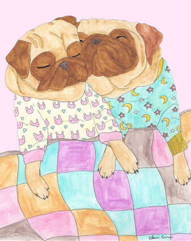Cuddle Pugs - Pug Art Print