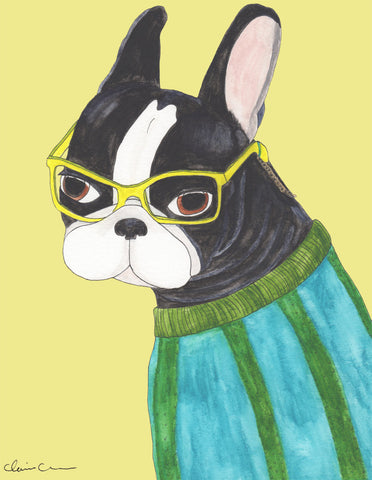 Boston Terrier Librarian Print