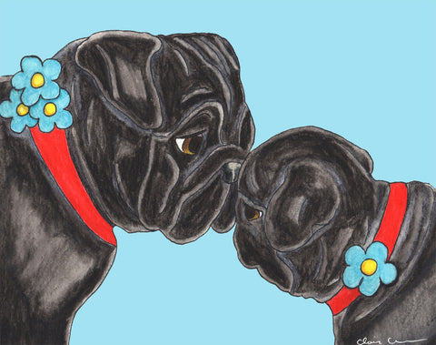 Mother and Daughter Black Pugs print