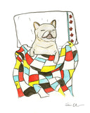 French Bulldog In A Quilt Art Print
