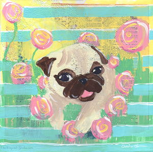 In The Flowers -  Original Pug Painting