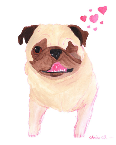 La La Love You - Original Framed Pug Art